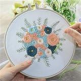 DIY bordado flor trabajo hecho a mano costura para principiante Kit de punto de cruz cinta pintura bordado aro decoración del hogar/floral, D, 20 cm