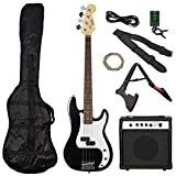 3rd Avenue Rocket Series Full Size Electric Bass Guitar Pack Kit in Black with Guitar Amplifier, Tuner, Bag, Stand and Accessories
