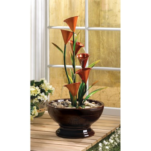 wakatobi Dramatic Indoor or Outdoor Decor Calla Lily Electric Water Fountain Centerpiece