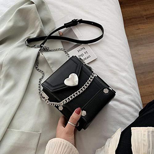 PANZZ Chain Box Crossbody Bags Women Summer Shoulder Handbags Female Travel Cross Body Bag, Black, Mini