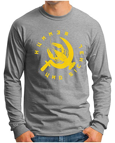OM3® - Hummer-und-Sichel - Langarm T-Shirt   Herren   Luxusleben und Sozialismus Printshirt   Grau Meliert, XXL