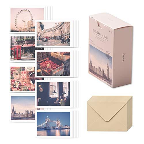 モノライク メッセージカード ミニカードロンドン Message card London - 40枚封筒20枚セットミニサイズデザイン文具お祝いのカード感謝カード