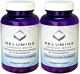 Pack of 2 Relumins Advance White 1650mg Glutathione Complex - 15x Dermatologic Formula with Advanced Skin Nutrients