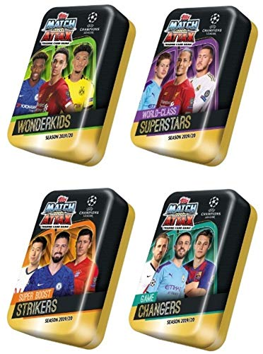 2019/20 Topps Match Attax Champions League Soccer EXCLUSIVE Collectors MEGA TIN with 60 Cards Including Limited Edition Card & 15 Subset Cards! Look for Ronaldo, Messi, Neymar, Kane & More! WOWZZER!