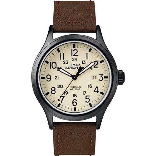Timex - Homme - T49963 - Expédition Scout - Quartz Analogique - Beige - Marron - Cuir