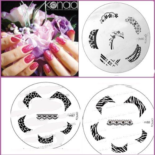 Bundle 5 pièces : Konad Plaque de nouvelles images M87, M88, M80 + Stamper & Scraper + A-viva Eco Lime à ongles