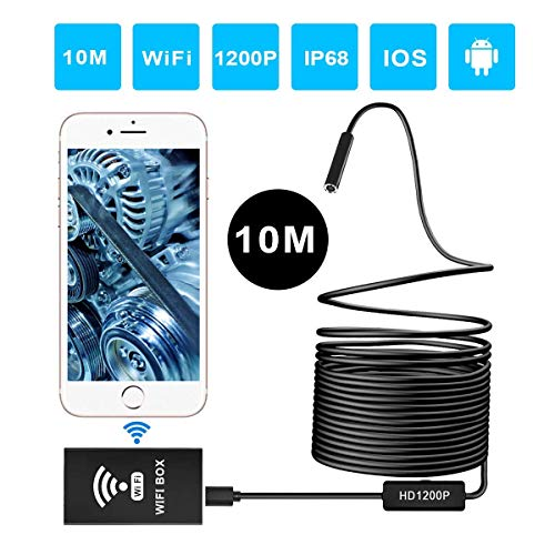 ERAY Endoscopio WIFI 10M, Cámara de Inspección 8mm Inalámbrica, 2.0MP, HD 1200P, IP68 Impermeable con 8 LED Ajustables, Cable Suave y Semi-rígido, Compatible con Android, iOS, Windows y Mac (33FT)