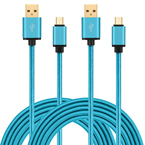 HI-CABLE, Micro USB Charger 10ft, Extra Long Gold-Plated Braided Fast Charging Cord for Android Phones, Samsung Galaxy S7 S6 Edge, LG, HTC, ZTE, Tablets (2 Pack) -Blue