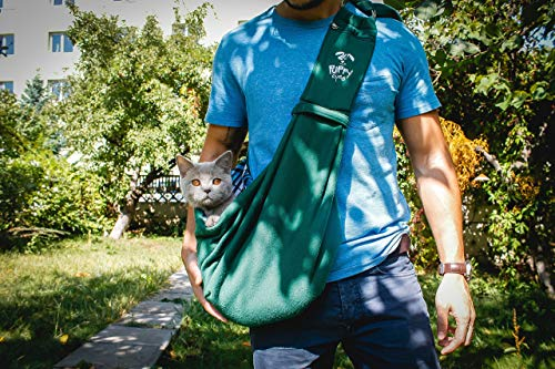 Puppy Eyes Pet Carrier Sling Ideal for Small & Medium Dogs, Cats or Rabbits up to 15 lb. Comfortable & Easy-Care | Free Seat Belt & Ebook | Adjustable & Reversible Design with Zippered Pocket 3