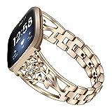 Compatibile con Fitbit Versa3, cinturino in acciaio inox, cinturino regolabile da donna, per Fitbit Versa3 Smart Watch. e Acciaio inossidabile, colore: Oro champagne