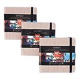 ARTEZA Blocs de acuarela | 14x14 cm | Paquete de 3 | 132 páginas | Tapa dura color beige| Papel de 230 g/m² | Libreta de dibujo de acuarela ideal como diario de viaje y bloc para medios mixtos