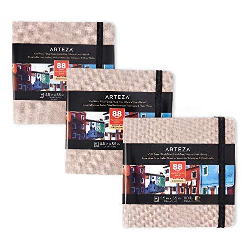 Arteza Aquarell-Skizzenbuch 14 x 14 cm, 3er-Pack mit jeweils 88 Seiten, 230g/m² kaltgepresstes säurefreies Aquarellpapier, beiger Leineneinband, für Aquarell- und Mischtechnik