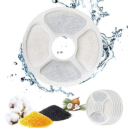 PewinGo Filtros Fuente Gatos, 1.6-2.5L Filtros Fuente para Gatos Repuesto de [6PCS] Filtros Agua Gato de Triple Acción con Resina de Intercambio Iónico, Carbón Activado, para Fuente de Agua Gatos