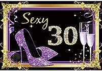 新しい2.1x1.5mVinyl誕生日の背景30歳の誕生日の背景ゴールドパープルレディースヒールフレームの背景写真の子パーティー