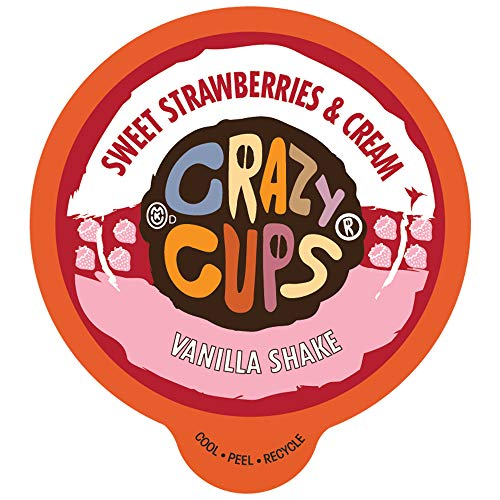 Crazy Cups Flavored Shake for Keurig K-Cup Makers, Sweet Strawberries and Cream Vanilla Shake, Hot or Iced Drinks, 22 Single Serve, Recyclable Pods