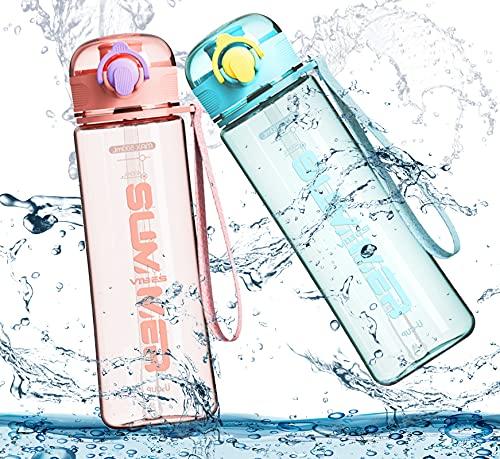 Botella de Agua 500 ml Botella para Beber Agua Deporte con Pajita Sin BPA con Marcador de Tapa A Prueba de Fugas Plástico Personalizada Portátil para Adolescentes Deportes Adultos Gimnasio Fitness