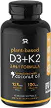 Vitamin D3 + K2 with Organic Virgin Coconut Oil   Plant-Based Vegan D3 (5000iu) with MK7 Vitamin K2 (100mcg) from Chickpea   Non-GMO & Vegan Certified (60 Veggie Softgels)
