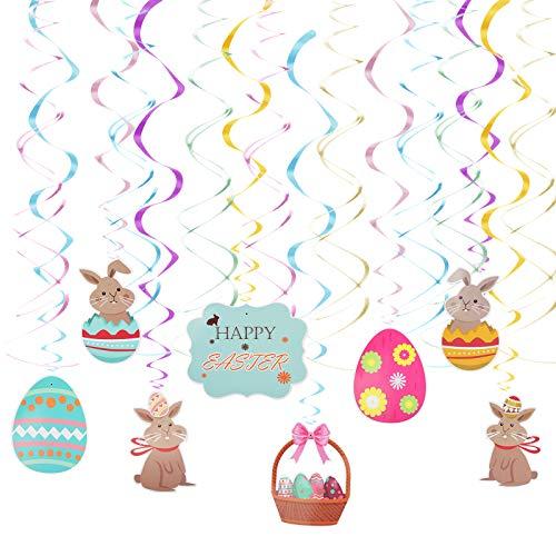 LOPOTIN 16pcs Swirl Rabbit Decoration Easter Rabbit Ornament Rabbit Egg Set Easter Rabbit Colorful Plastic Macaron per Decorare Finestre Sul Tetto Della Casa Giardino Rami Degli Alberi Pasqua Bambini.