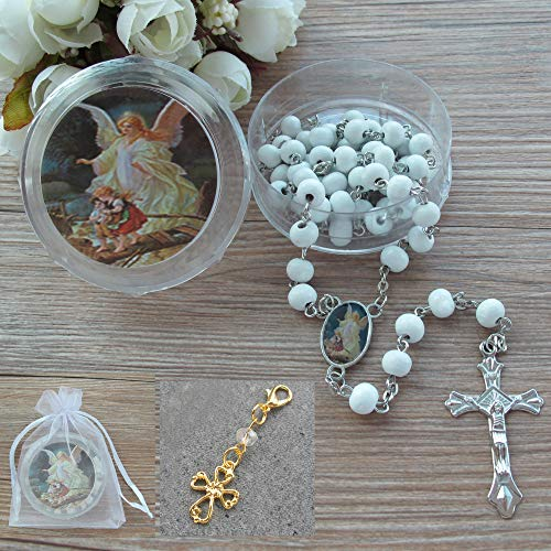 First Communon Baptism White Scented Rosary Favor - 12 Guardian Angel Rosaries with Individual Gift Box and Bag