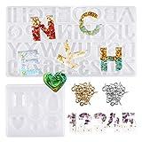 Dokpav 93PCS Alfabeto Números Molde Silicona Resina para Hacer Joyerias, Moldes de Resina para Collar Pendiente Fabricación de Colgante Diamante Pulsera Creativo Bricolaje
