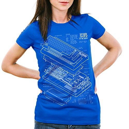 style3 C64 Heimcomputer Blaupause Damen T-Shirt Classic Gamer, Farbe:Blau, Größe:XL
