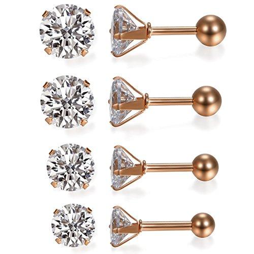 JewelryWe Schmuck 4 Paare Damen Ohrringe, Elegant Runde Zirkonia Edelstahl Ohrstecker Tragus Helix Ohr Piercing, Rosegold - Breite 3mm ~ 6mm