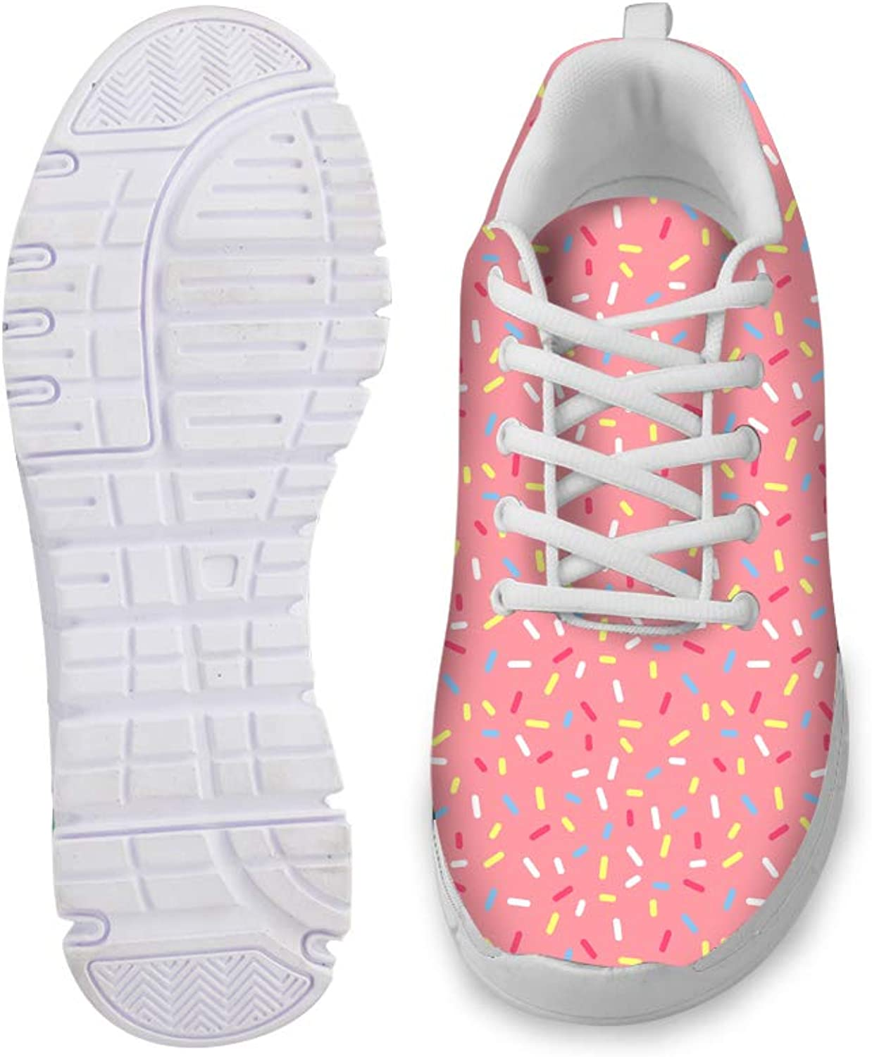 Owaheson Lace-up Sneaker Training shoes Mens Womens Pink Donut Sprinkles