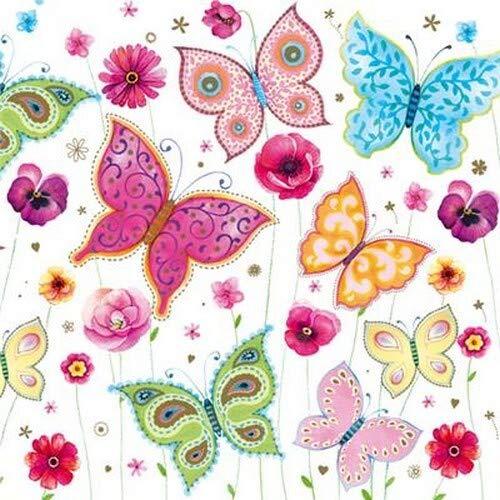 20 Servietten Herrlich bunte Schmetterlinge | Tiere | Frühling | Sommer 33x33cm