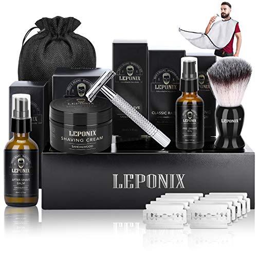 Shaving Kit for Men, Include Safety Razor, Sandalwood Shaving Cream, Pre...