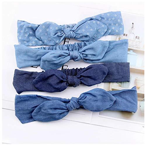 KUANGWENC Diadema con lazo de mezclilla para mujer, para verano, con orejas de conejo, banda elástica para el pelo, 4 unidades