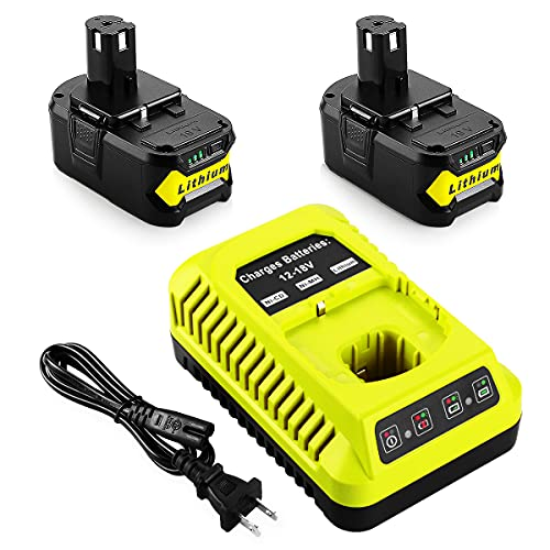 Energup Replacement 2Pack 6.0Ah Ryobi 18V Lithium Battery for Ryobi 18-Volt ONE+ P104 P105 P102 P103 P107 P108 with Replacement P117 Ryobi Charger for Ryobi 18v Batteries