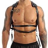 Aislor Arnés de Pecho Cuero Hombre Sexy Punk Harness Cinturón Tirantes de Charol Sexy Cuerpo Músculo Mirada Mojada Clubwear Disfraz de Cosplay Noche Fiesta Negro Tipo D