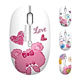 TENMOS M101 Wireless Mouse Cute Silent Computer Mice with USB Receiver, 2.4G Optical Wireless Travel Mouse 1600 DPI Compatible with Laptop, Notebook, PC, Computer (Bear)