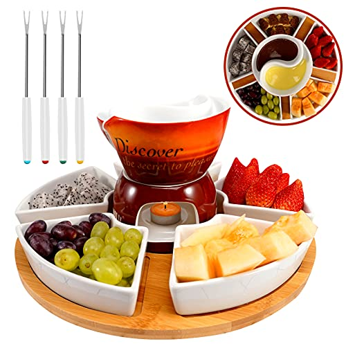 American style glazed ceramic fondue gift set for chocolate fondue or cheese fondue, with 4 fondue forks, a wooden pallet, removable Fondue Pot suitable for caramel, cheese, seasonings, etc. (Red)