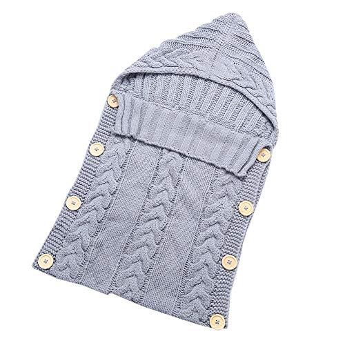Ericcay Nouveau Né Bébé Couverture Wrap Casual Chic Warm Hiver Petit Enfant Laine À Tricoter Couverture Wrap Sac De Couchage Pram Wrap Pour 0 12 Mois (Color : Grau, Size : Size)