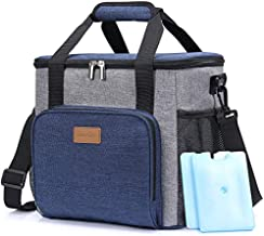 Lifewit Insualted Lunch Cooler Bag with 2 Ice Packs, 24 Can, Blue