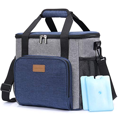 Lifewit Insulated Cooler Bag Lunch Box Shopping Bag, 17L (24-Can) Soft Cooler for Sports/Work/Meal Prep, Lunch Bag Keep Food Cold Hot Fresh, Black [ with 2 Ice Packs & Bottle Opener ]