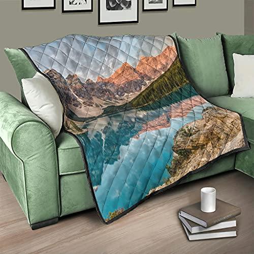 AXGM Colcha parque desnuda de montaña y lago acuático, manta con impresión 3D, 230 x 260 cm, color blanco