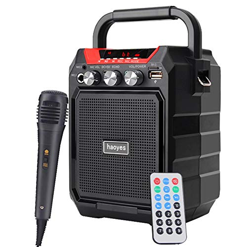 Purchase Portable PA System Bluetooth Speaker with Wired Microphone, Rechargeable Karaoke Machine wi...