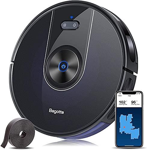 Aspirateur Robot Laveur de Sol Puissante 2200 Pa, Bagotte 3 en 1 Robot Aspirateur Connecté Wi-Fi, Navigation Précise du Gyroscope et Suivi Optique (Réservoir Deau 300ML non-inclus)