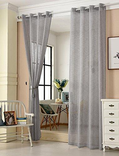 WOLTU VH5862dgr-2, 2er Set Gardinen transparent mit Ösen Leinen Optik, Doppelpack Ösenschal Vorhang Stores lichtdurchlässig Fensterschal für Wohnzimmer Kinderzimmer Schlafzimmer, 140x225 cm Grau