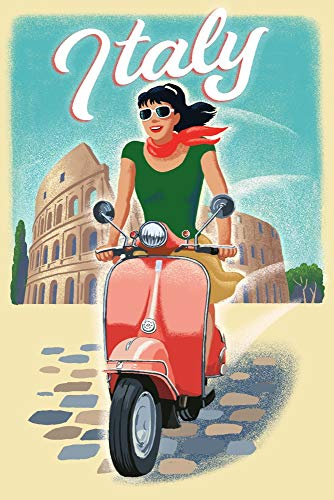 Italy - Woman on Vespa (12x18 Art Print, Wall Decor Travel Poster)