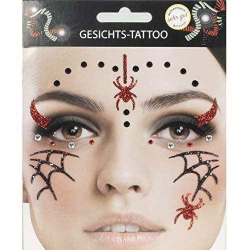 Gesichts Tattoo Spinnennetz Halloween Karneval (Spinne)