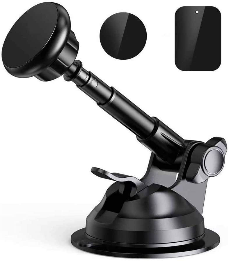 Magnetic Phone Car Mount, Universal Hands-Free Phone Holder for Car Dashboard Windshield, Adjustable Long Arm Strong Suction Cup Compatible Compatible with iPhone 11 Pro, Samsung & More (2020, Black)