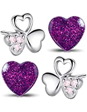 Set di orecchini da bambina in vero argento Sterling 925, a forma di quadrifoglio, cuore