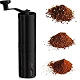 InstaCuppa Manual Coffee Grinder with Adjustable Setting - Conical Burr Mill & Brushed