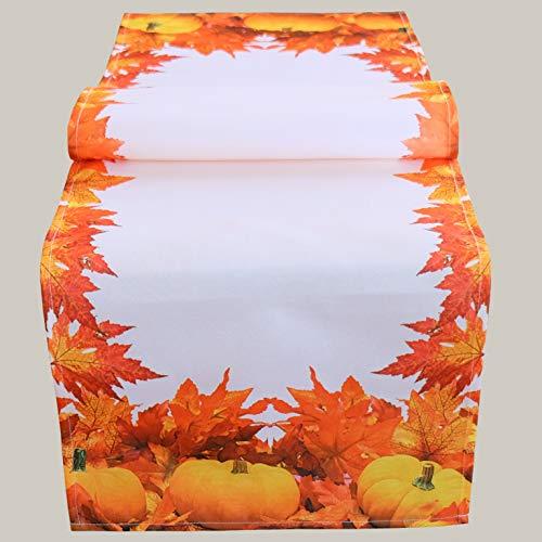 Kamaca Serie HERBSTLICHER KÜRBIS hochwertiges Druck-Motiv mit Blättern Schmuckstück im Herbst (40x140 cm Tischläufer)