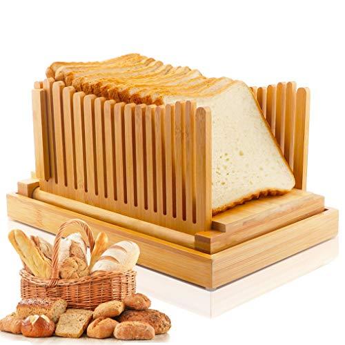 Hsonline Bambus-Brotschneider, kompakt, faltbar, mit Auffangschale, 3 Stärken, verstellbares Brotschneidebrett für selbstgemachtes Brot, Brot, Brot, Brot, Bagels, Toastschneider, Sandwichmaker