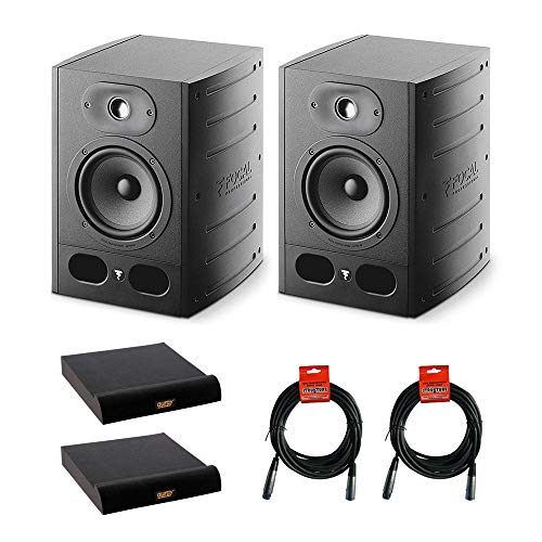 "Focal Alpha 65 Active 2-Way 6.5"" Professional Studio Monitoring Speaker (Pair) with 2x Large Isolation Pad & 2x XLR-XLR Cable Bundle"