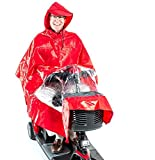 Rain Poncho Cape for Pride Electric Mobility Scooter Riders, lightweight, waterproof, hooded - J800 Red color